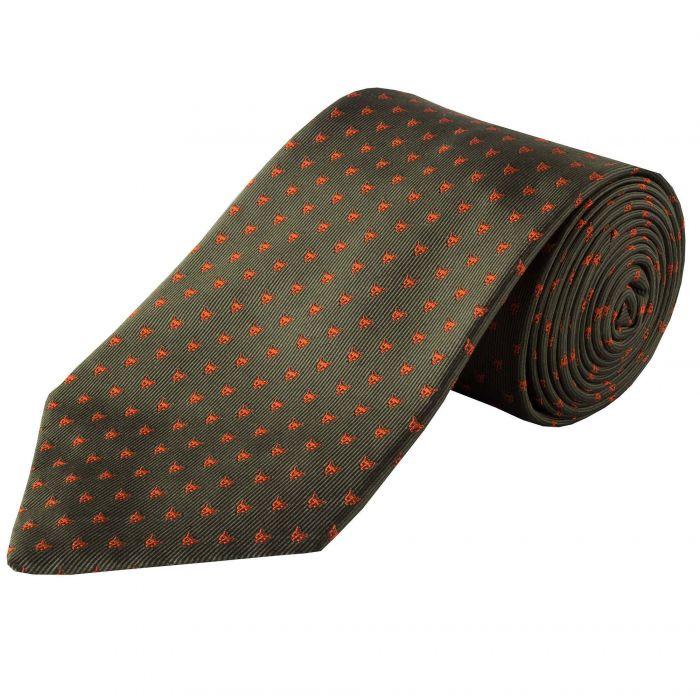 Green Micro Fox Woven Silk Tie
