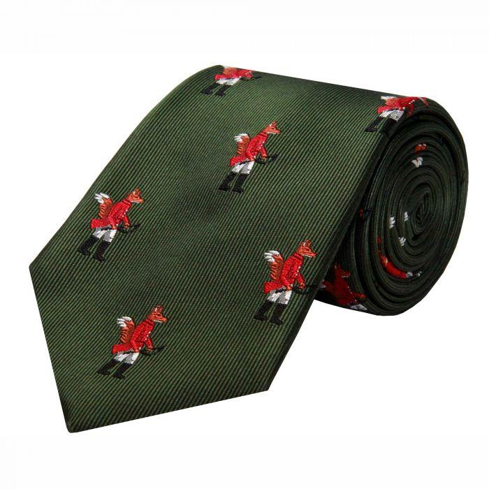 Olive Hunting Fox Silk Tie