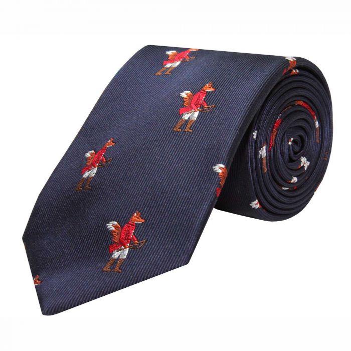Navy Hunting Fox Silk Tie