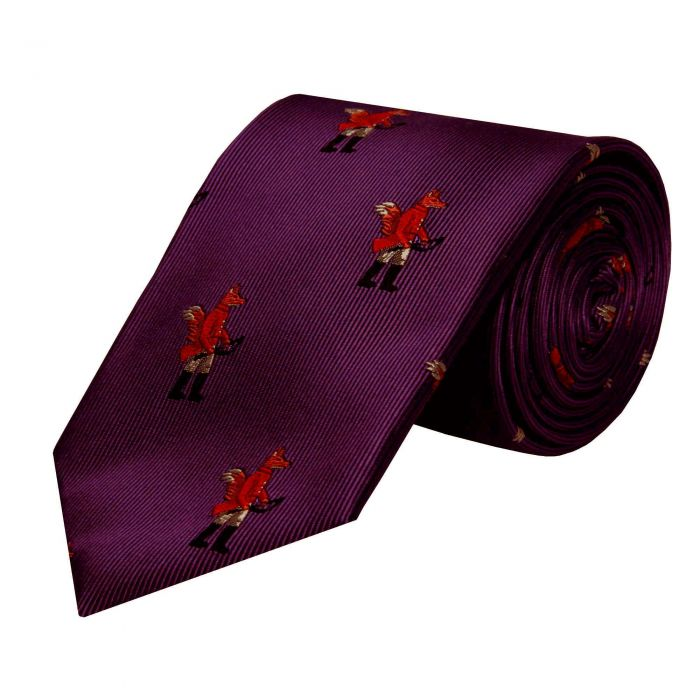 Plum Hunting Fox Silk Tie