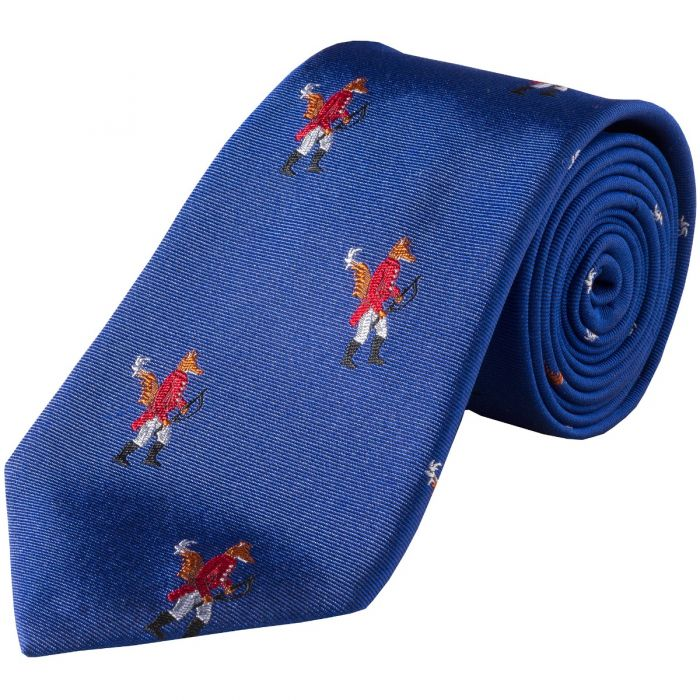 Royal Blue Hunting Fox Silk Tie
