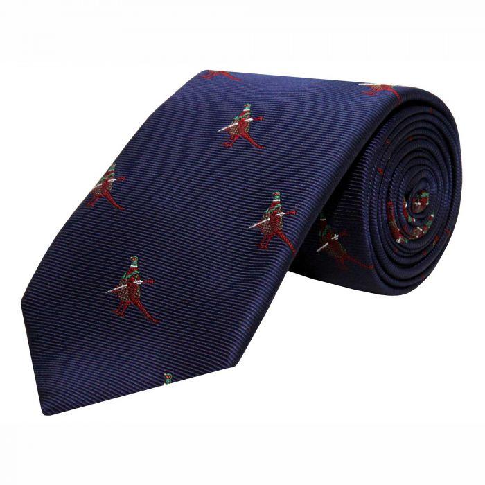 Navy Hunting Pheasant Silk Tie