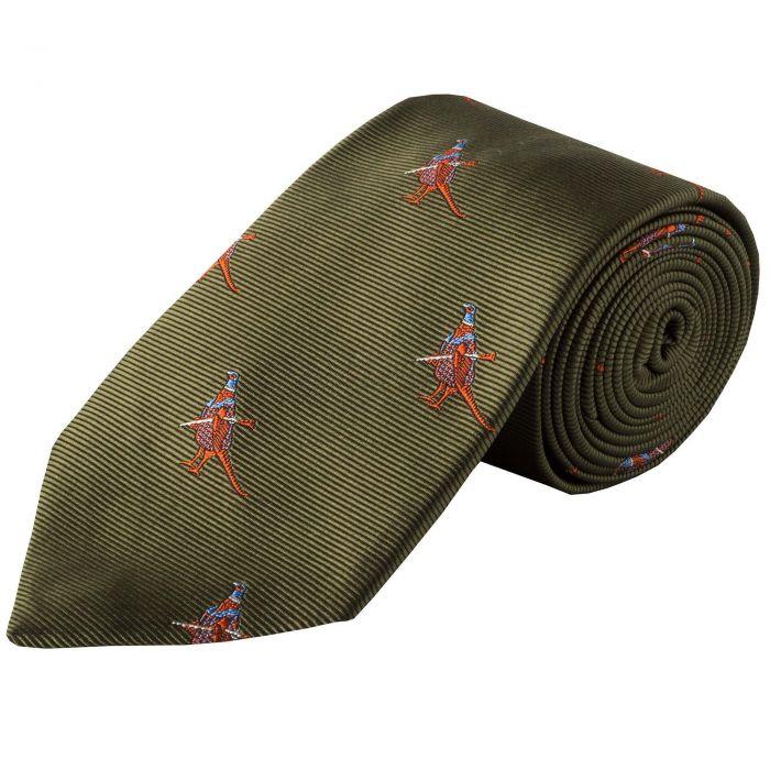 Olive Hunting Pheasant Silk Tie