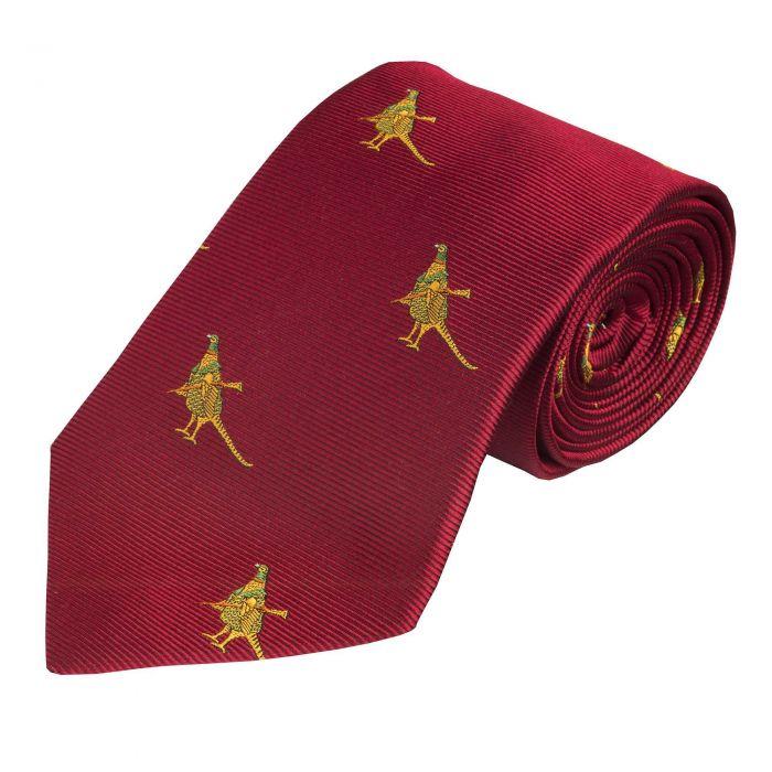 Red Hunting Pheasant Silk Tie