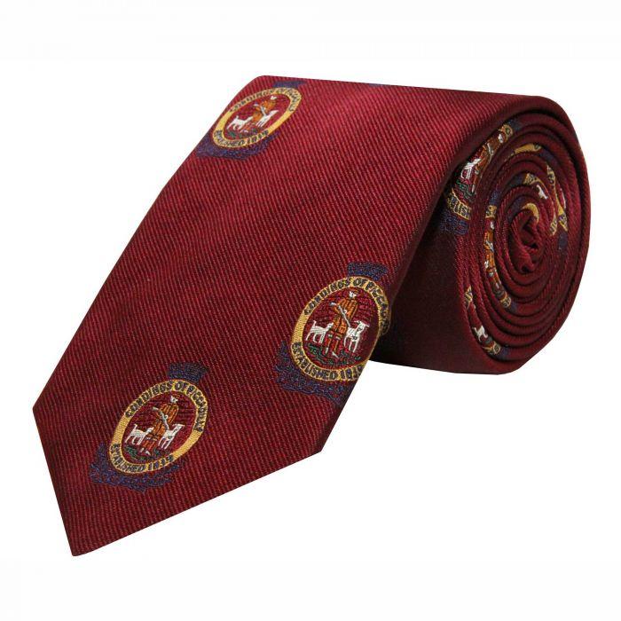 Burgundy Cordings Crest Silk Tie