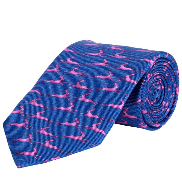 Blue Running Hare Printed Silk Tie