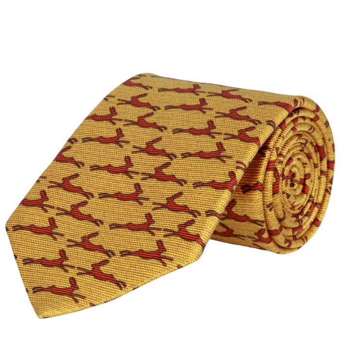 Gold Running Hare Printed Silk Tie