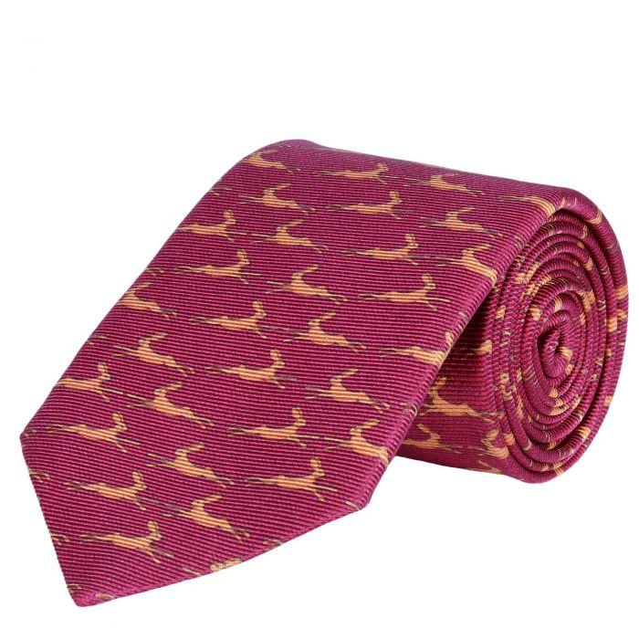 Running Hare Printed Silk Tie Rust