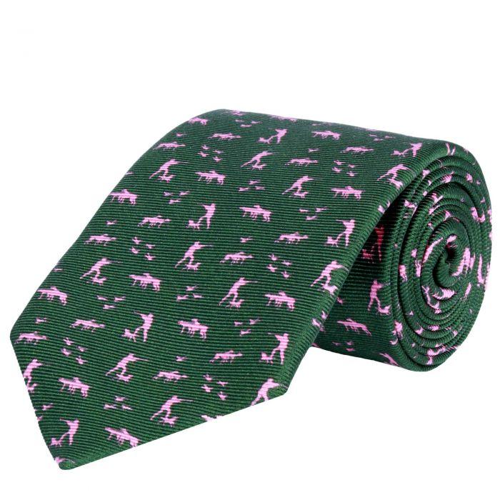 Silent Hunter Printed Silk Tie Green