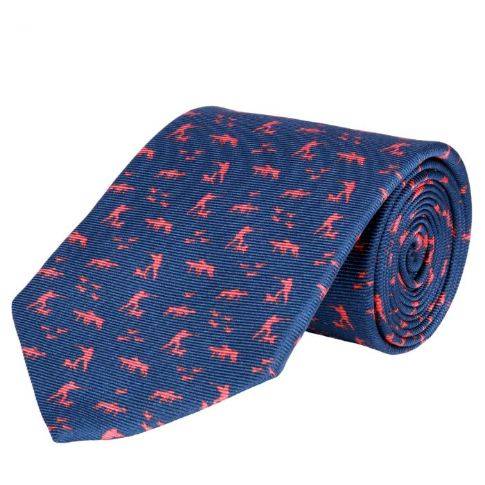 Navy Silent Hunter Printed Silk Tie