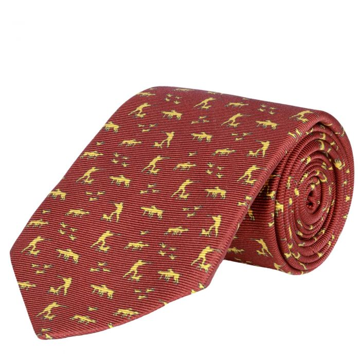 Silent Hunter Printed Silk Tie Red
