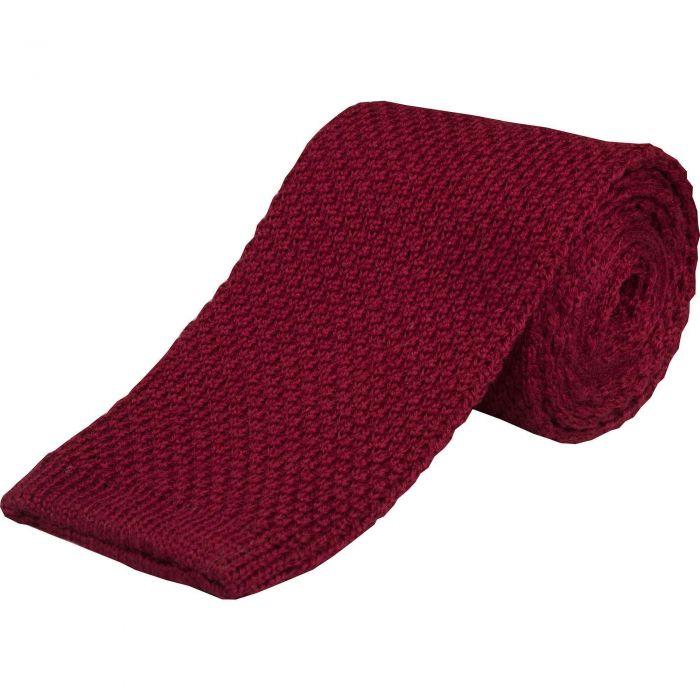 Burgundy Merino Knitted Tie