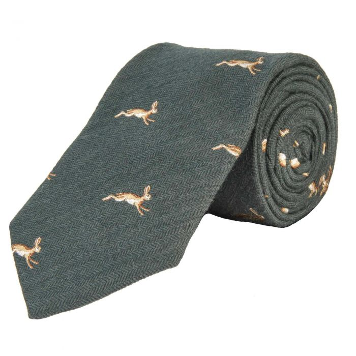Sage March Hare Woven Wool and Silk Tie