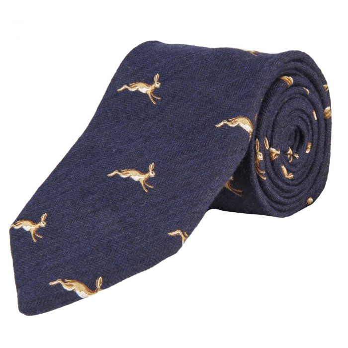 Navy March Hare Woven Wool and Silk Tie