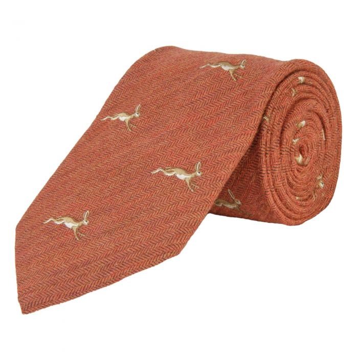 Orange March Hare Woven Wool and Silk Tie