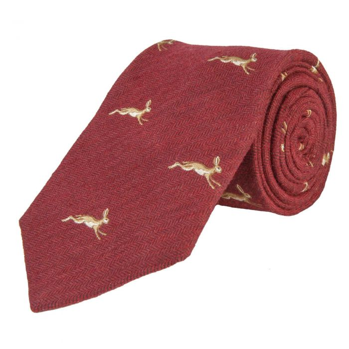 Red Brick March Hare Woven Wool and Silk Tie
