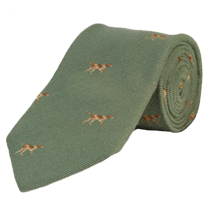 Sage Green English Pointer Woven Wool and Silk Tie
