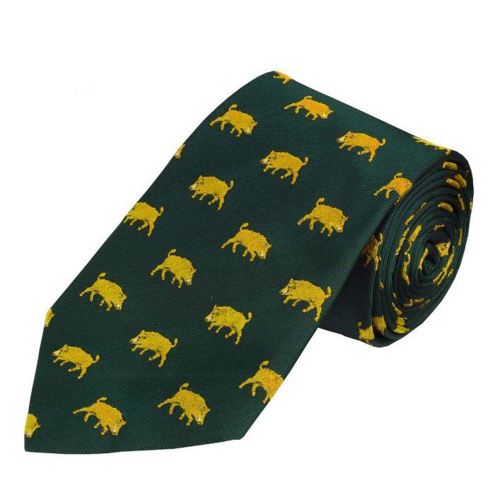 Green Yellow Wild Boar Silk Tie