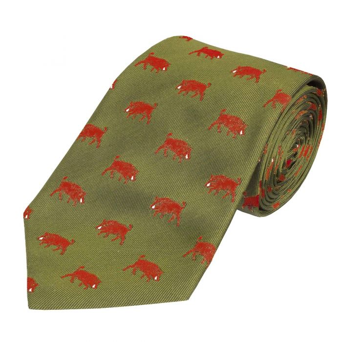 Olive and Red Wild Boar Silk Tie