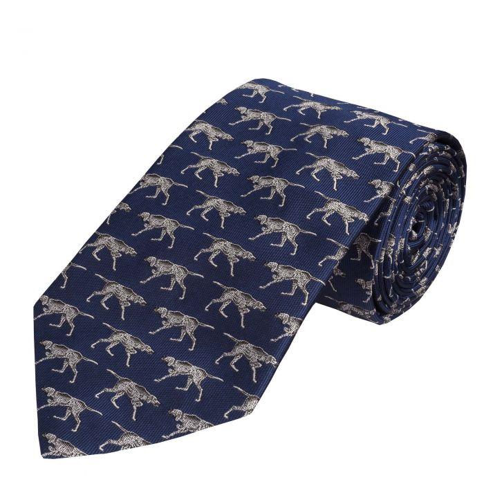 Navy Silent Pointer Silk Tie