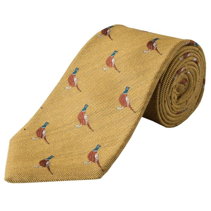 Gold  Pheasant Woven Wool Silk Tie