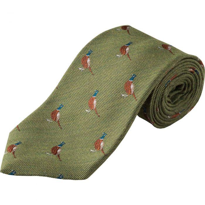 Moss Green Pheasant Woven Wool Silk Tie