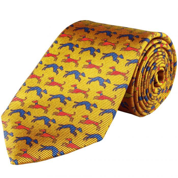 Gold Speeding Hound Printed Silk Tie