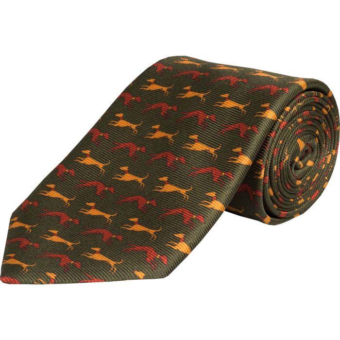 Olive Speeding Hound Printed Silk Tie