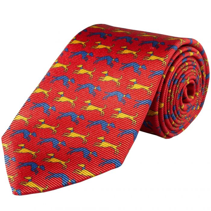 Red Speeding Hound Printed Silk Tie