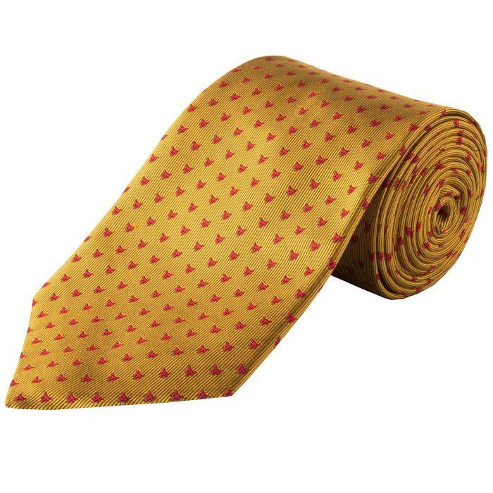 Gold Red Micro Fox Woven Silk Tie