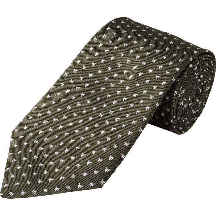Olive Micro Fox Woven Silk Tie