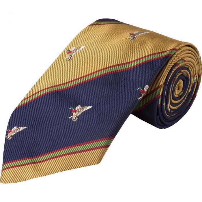 Navy Duck Club Woven Silk Tie