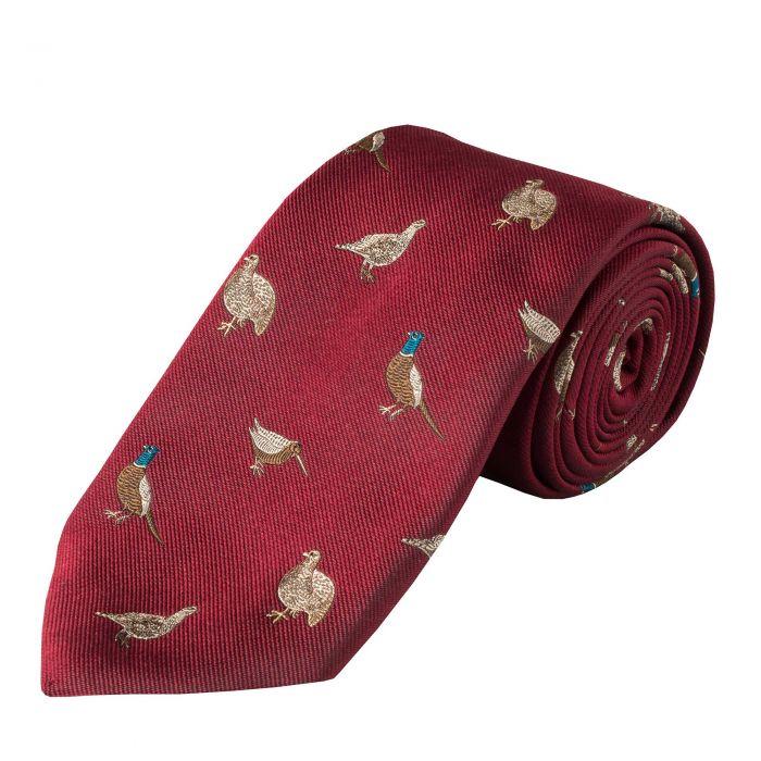Wine Flock of Birds Silk Tie