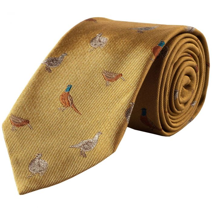 Gold Flock of Birds Silk Tie