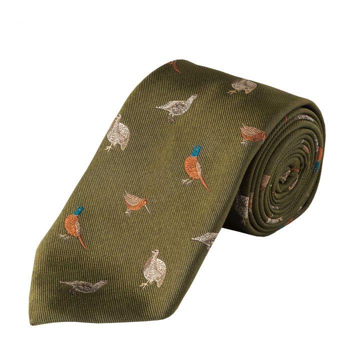 Olive Flock of Birds Silk Tie