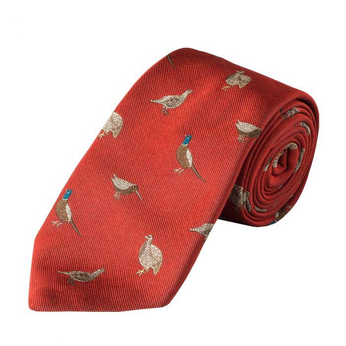 Orange Flock of Birds Silk Tie