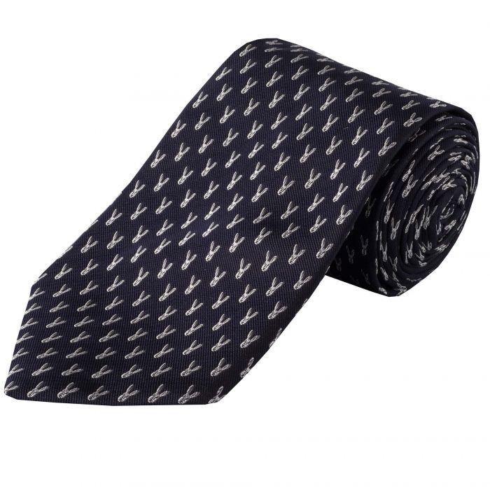 Navy White Micro Hare Woven Silk Tie