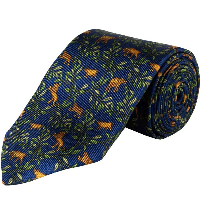 Navy Big 5 Silk Foulard 36oz Tie