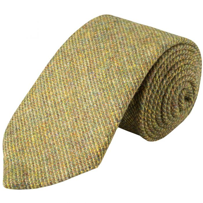 Green Mustard Country Tweed Wool Tie