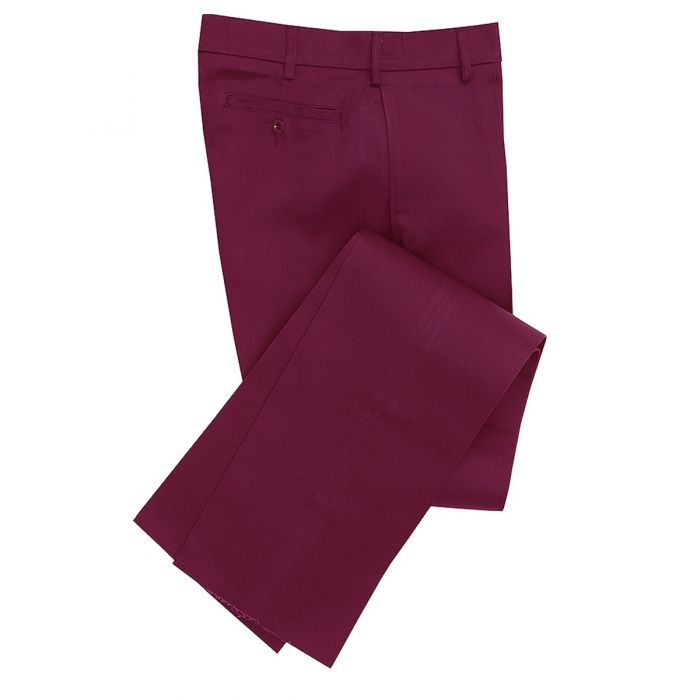 Burgundy Cotton Drill Trousers