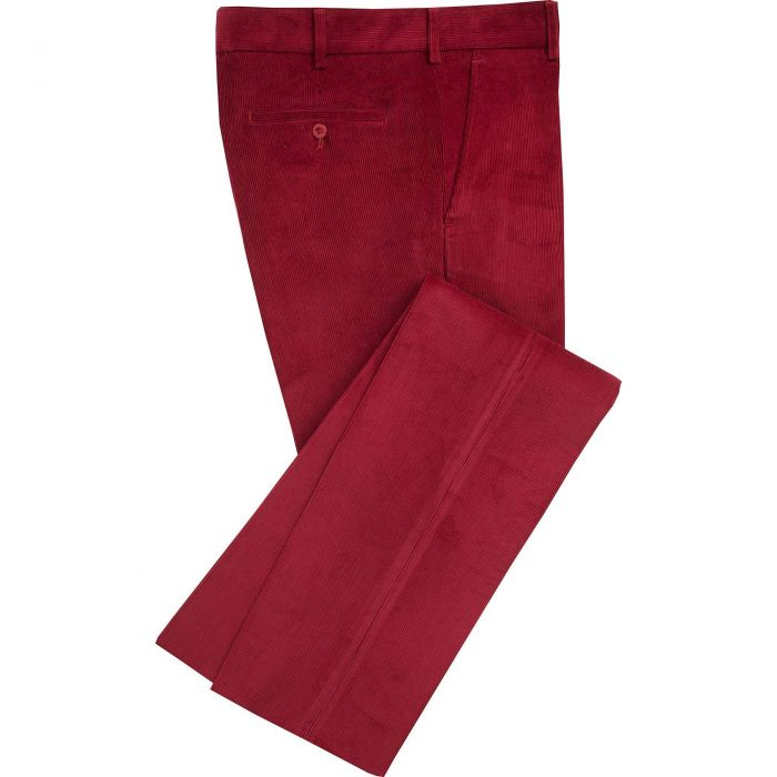 Berry Red Needlecord Trousers