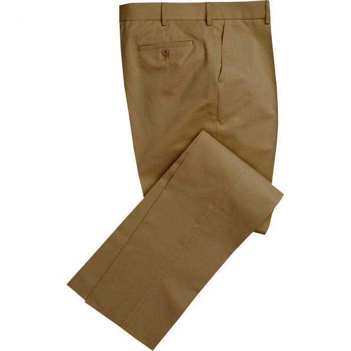 Khaki Flat Front Chino Trousers
