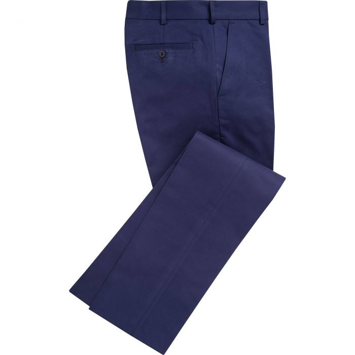 Navy Flat Front Chino Trousers