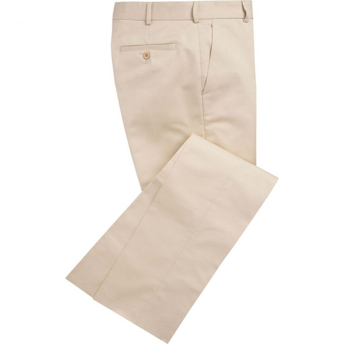 Cream Flat Front Chino Trousers