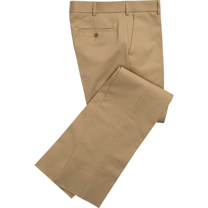 Gold Flat Front Chino Trousers