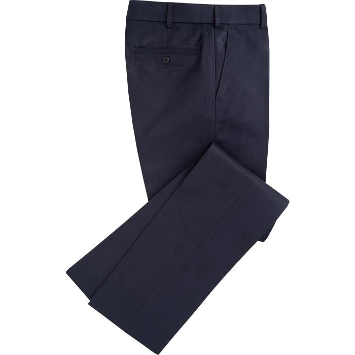 Midnight Flat Front Chino Trousers