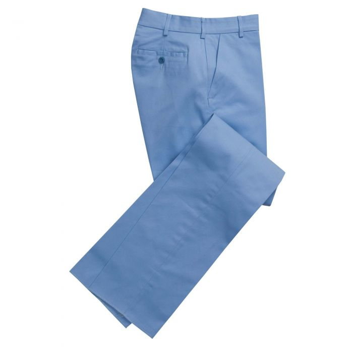 Zip Fly Pale Blue Chino Trousers