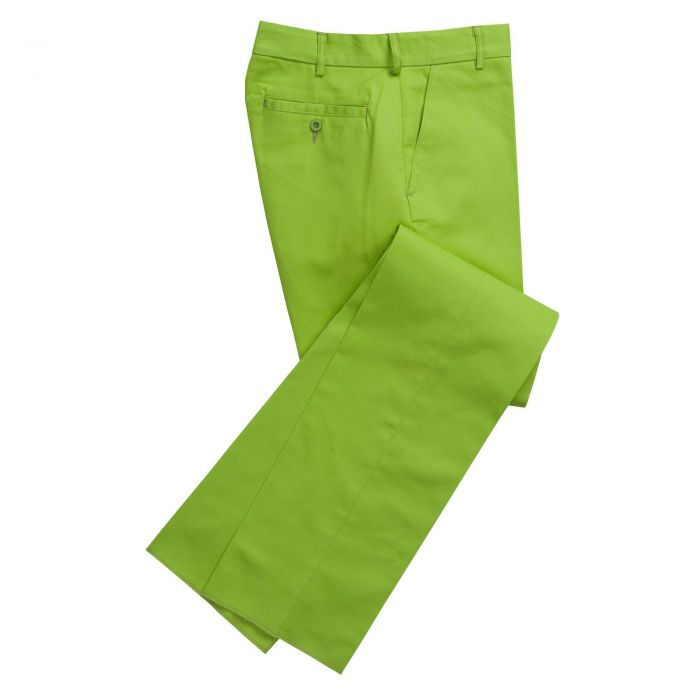 Zip Fly Lime Bright Chino Trousers