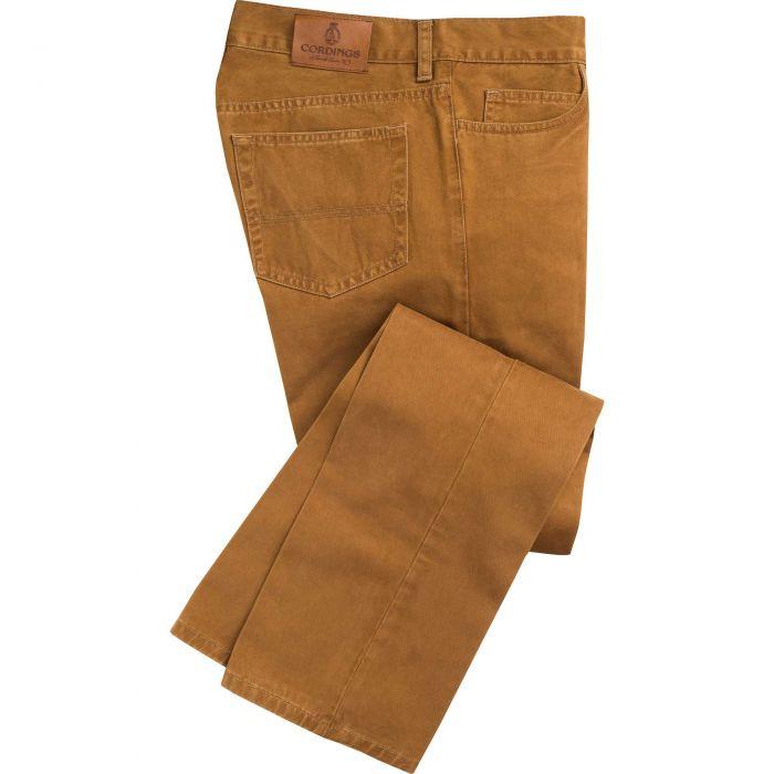 Mid Tan Cotton Twill Jeans