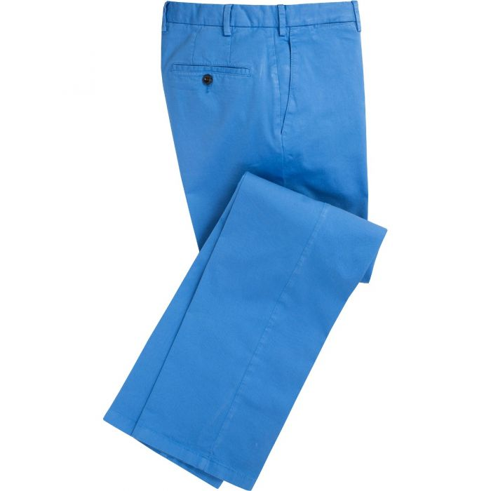 Azure Blue Summer Gabardine Trousers